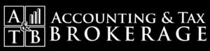 A black and white version of the Accounting & Tax Brokerage logo