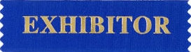 """The word """"EXhibitor"""" in gold with a blue background."""