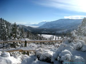 A view of Kings Canyon in the winter time surrounded by snow.