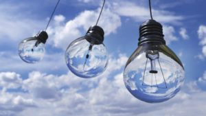 A series of hanging lightbulbs from our Contact Us page.